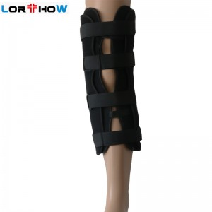Tri-Panel Knee Immobilizer Brace with Metal Bars and Adjustable Fit