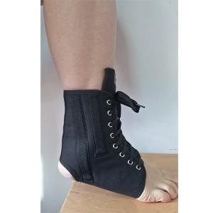 Canvas Laced-up Ankle Splint with contoured stays to prevent sprains after injury