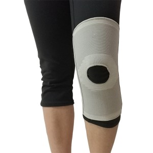 Elastic Knit Knee Sleeve Brace with bilateral spring stays and open patella