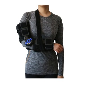 Post-Op ROM Elbow Brace T1 with foam and ROM hinge with flexion and extension stop setting for proper positioning holding