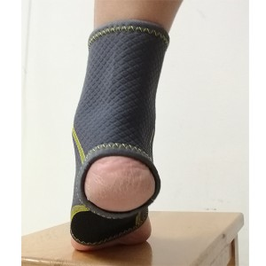 Flexible Neoprene Ankle Brace with open toe and heel design to support overstressed ankle;