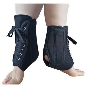 Canvas Laced-up Ankle Splint supports product with metal stays wearable in walking and sports shoes