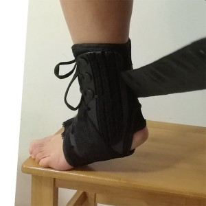 Reinforced Laced-up Ankle Brace with extra hook and loop velcro straps